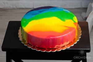 orchideli - rainbow mirror glaze recipe, tęczowa polewa lustrzana