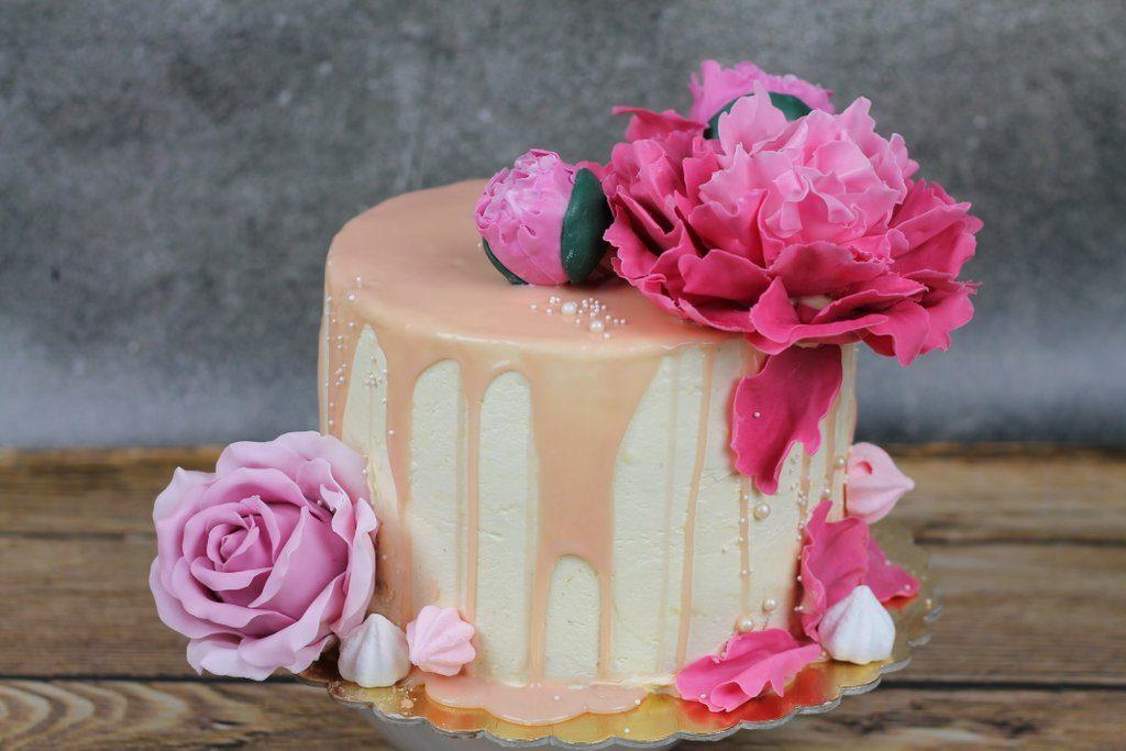 Róża z lukru, orchideli, Piwonia z lukru na tort urodzinowy