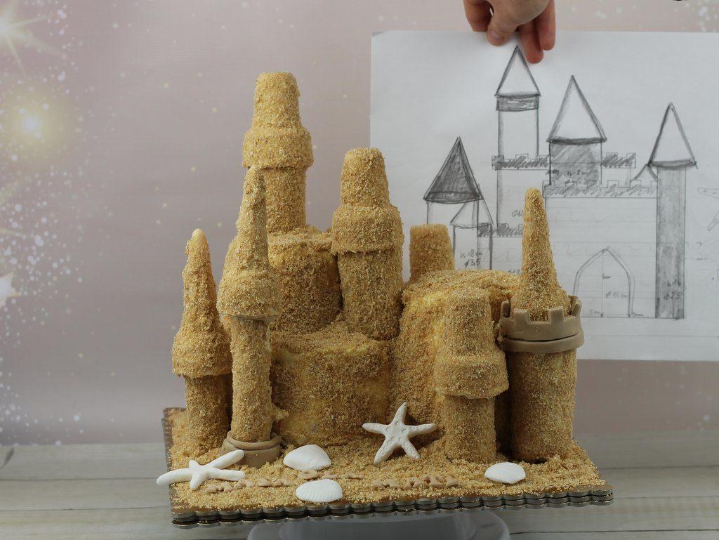 orchideli- tort urodzinowy dla dzieci, zamek z piasku na plaży, sand castle cake, tort urodzinowy zamek z piasku