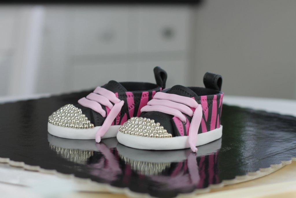 orchideli Rockowe trampki z lukru dla dziewczynki buciki z lukru w różowo czarną zebrę