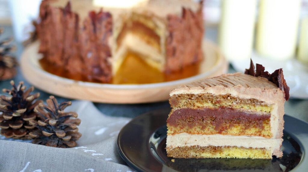 orchideli, tort opera, czekoladowo-kawowy z czekoladowÄ… siekierÄ…, tort pieniek drzewa