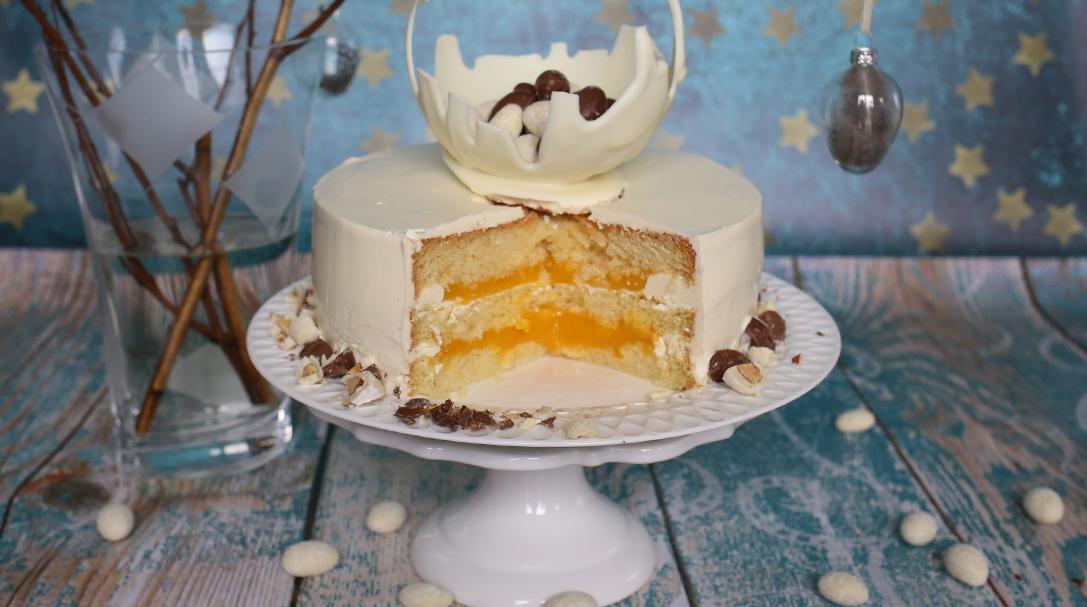 wielkanocny tort brzoskwiniowy orchideli, lekki i orzeźwiający tort brzoskwinowy z brzoskwiniami, przepis na wielkanoc