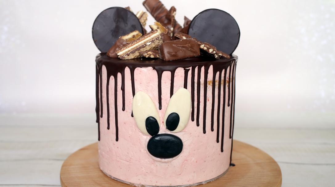 orchideli, przepis na tort z Myszką Miki, tort malinowy z myszką miki, przepis na tort urodzinowy
