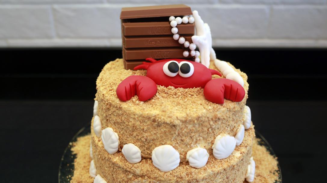 orchideli, przepis na tort miodowy - zamek z piasku, tort urodzinowy dla dziecka