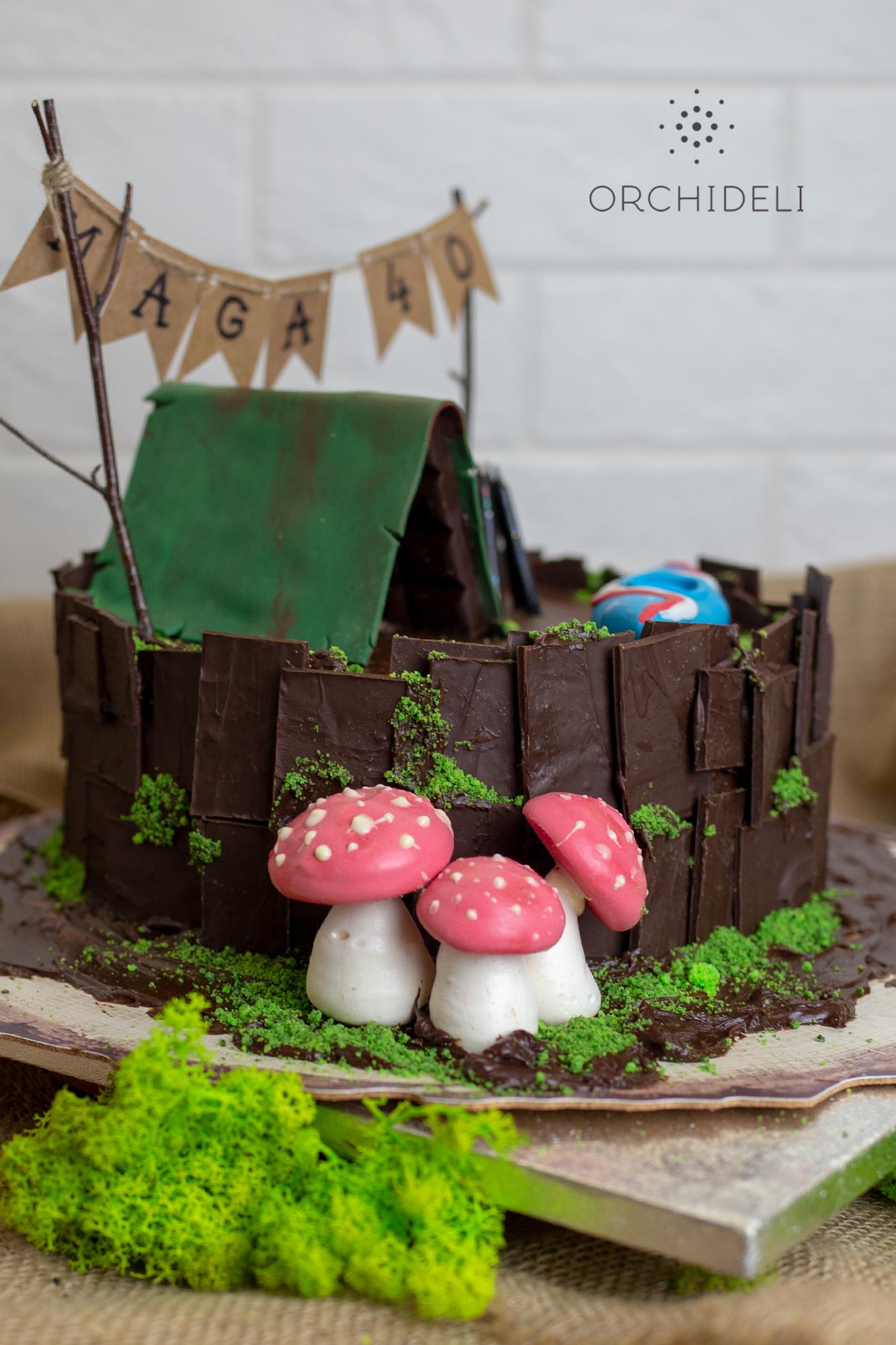 orchideli, Tort czekoladowo-orzechowy, tort z namiotem, tort dla mężczyzny, tort dla dziadka