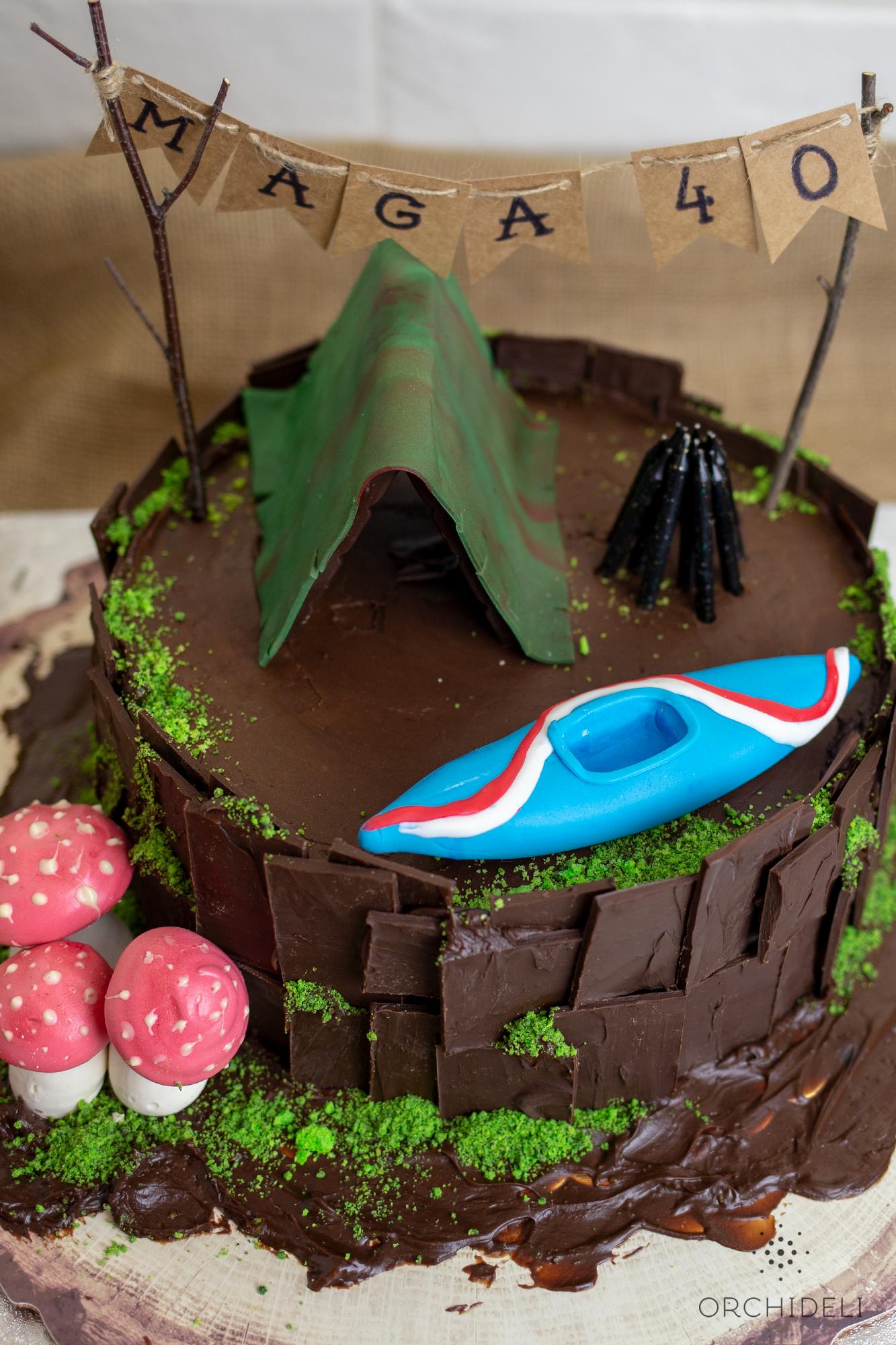 orchideli, tort z namiotem, tort czekoladowy