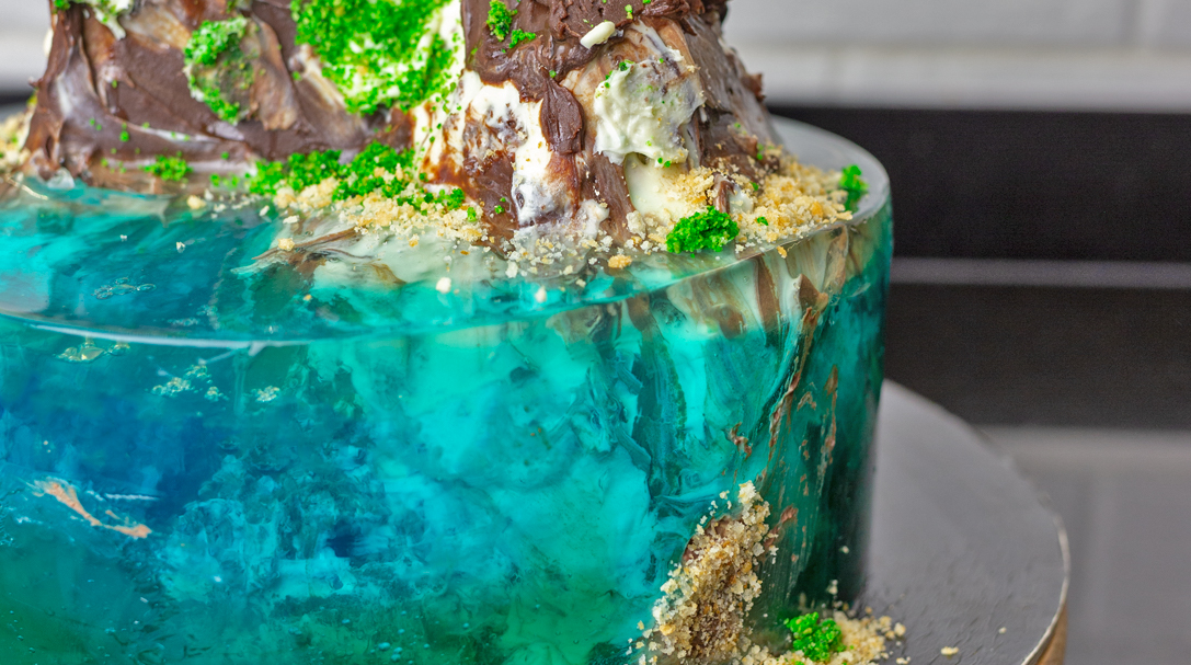 tort ocean, przepis na tort urodzinowy z galaretkami, orchideli