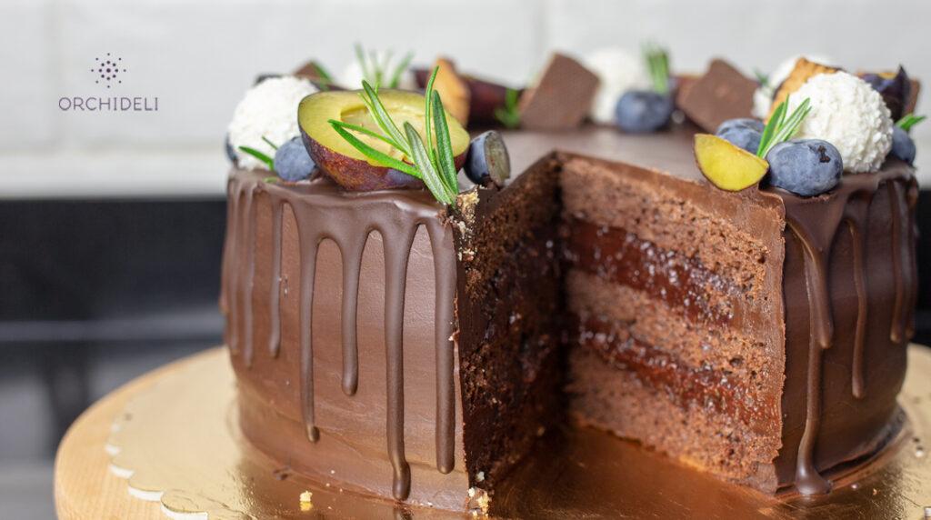 orchideli, przepis na czekoladowy tort